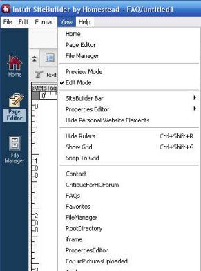 Using the view menu in sitebuilder.