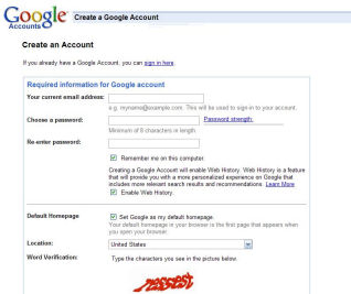 Google Account Sign Up Page
