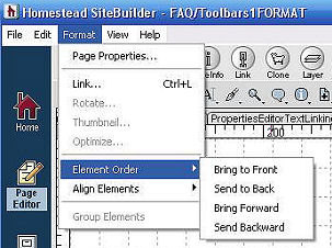 Toolbar 1 - Format - Element Order