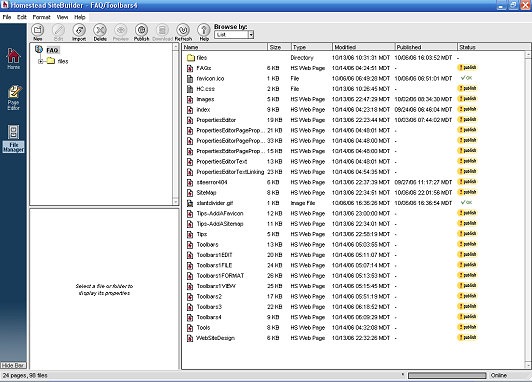 File Manager Screen Pages
