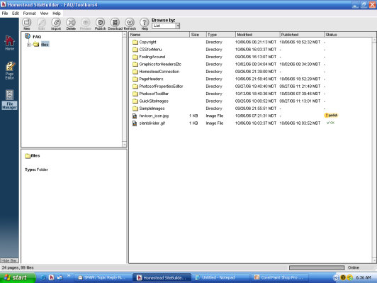 File Manager Screen Files